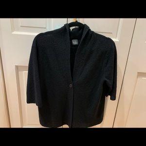 Eileen Fisher black crêpe sweater/jacket/cardigan